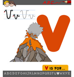 letter v with cartoon volcano vector image