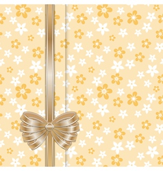 Spring card template with bow gold vector