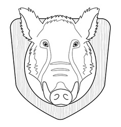 Stuffed taxidermy wild boar head line-art vector