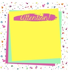 Attention yellow blank vector