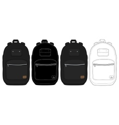 Black urban backpack set vector