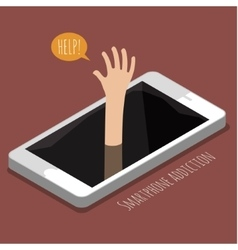 Concept of smartphone addiction vector