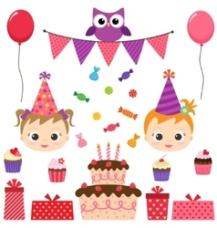 Birthday party set vector