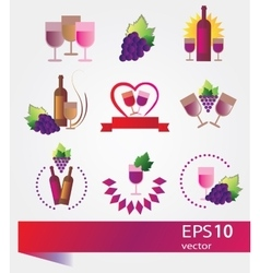 Set of icons for wine vector image