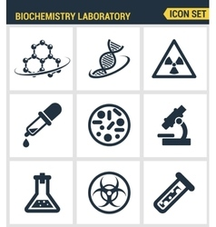 Icons set premium quality of biochemistry research vector