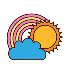 beautiful fantasy cloud with sun and rainbows vector image vector image