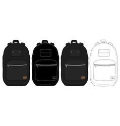 Black urban backpack set vector image