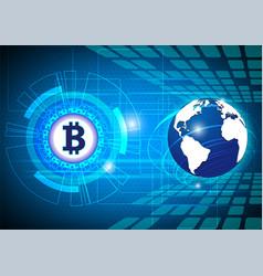 Blue digital money technology worldwide network vector