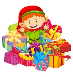 Christmas theme with elf and present boxes vector