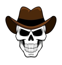 Cowboy skull character with brown felt hat vector image vector image