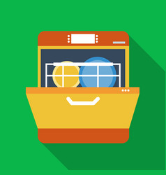 Dishwasher icon in flate style isolated on white vector