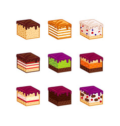 Flat design cake flavour slices vector