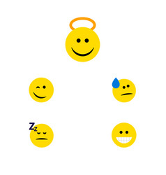 Flat icon emoji set of winking angel grin and vector