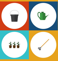 flat icon farm set of flowerpot tool bailer and vector image