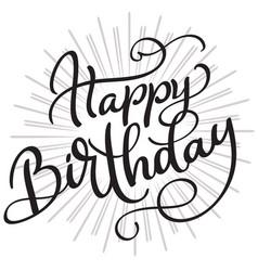 Happy birthday words on white background hand vector