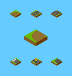 Isometric road set of way upwards sand vector