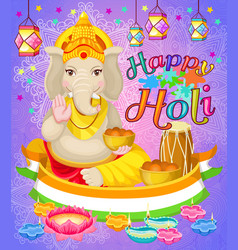 Light indian holi holiday poster vector