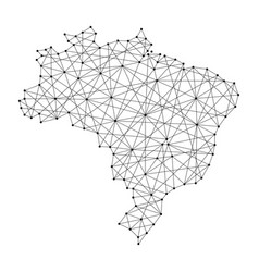 Map of brazil from polygonal black lines vector