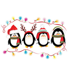 Merry Christmas card with penguins vector image vector image