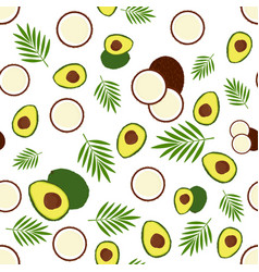 Pattern with avocado and coconut vector