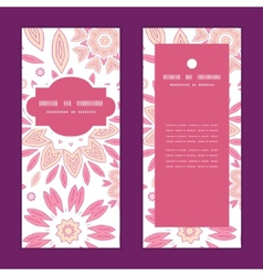 pink abstract flowers vertical frame pattern vector image