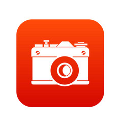 retro camera icon digital red vector image