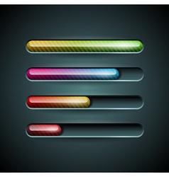 Shiny progress indicator set on a dark background vector
