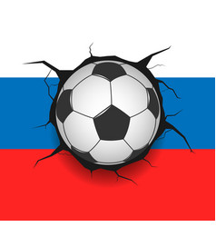 soccer ball and russian flag vector image