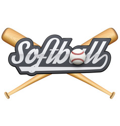 Softball symbol with tag and wooden bats vector