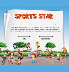 Sports star certificate template with kids vector