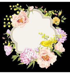 Spring vintage floral bouquet with birds vector