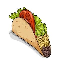 Taco color picture vector