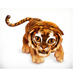 Tiger cub Funny animal 3d icon vector image