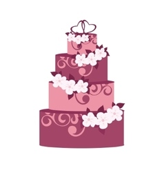 Wedding cake with decoration flowers vector