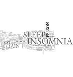 What is insomnia text word cloud concept vector