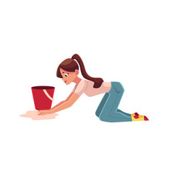 Young woman housewife washing floor by hand vector