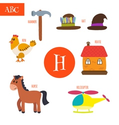 Letter h cartoon alphabet for children hen horse vector