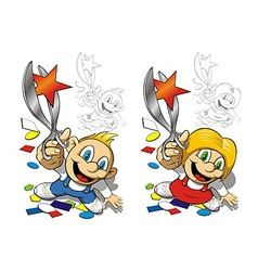 Boy and girl with scissors vector