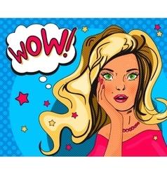 Pop art girl poster vector image