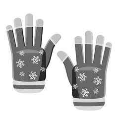 Knitted gloves icon gray monochrome style vector
