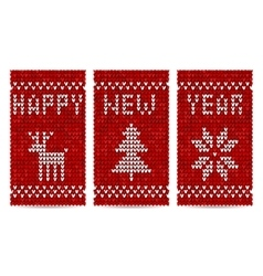 Knitted happy new year greeting cards vector