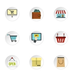 Purchase icons set flat style vector