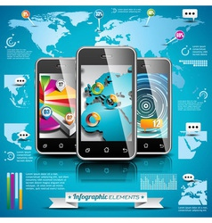 World map and information graphics on mobile phone vector