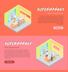 Supermarket departments isometric web banners set vector