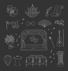 Set of theater icons hand drawn doodle vector