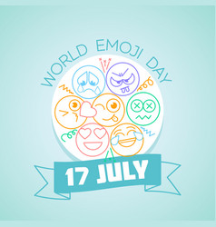 17 july world emoji day vector image vector image