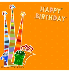 Birthday background with striped party hats vector