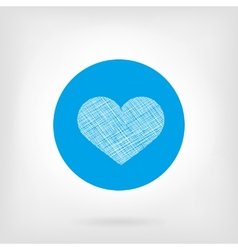 Heart icon in flat and doodle style vector image