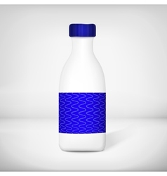 Template of plastic blank milk bottle vector