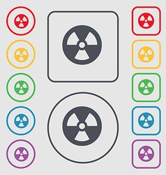 Radiation icon sign symbol on the round and square vector